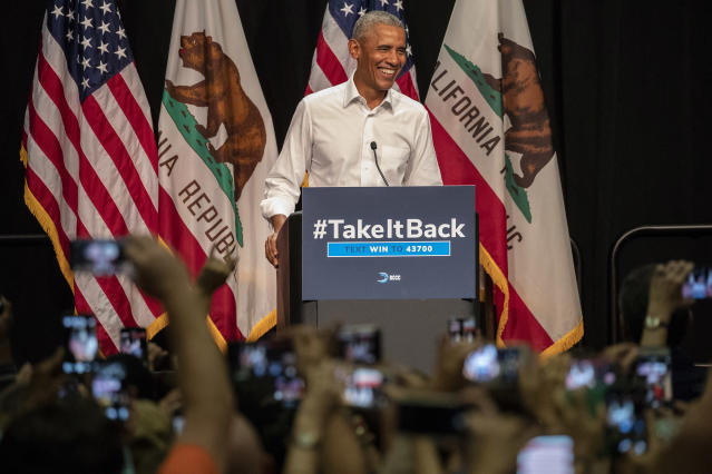 Obama at a campaign event in Anaheim, Calif., for Democratic congressional candidates. (Photo: Irfan Khan/Los Angeles Times via Getty Images )
