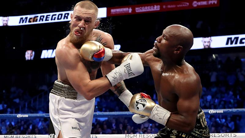 Floyd Mayweather, pictured here beating Floyd Mayweather in 2017.