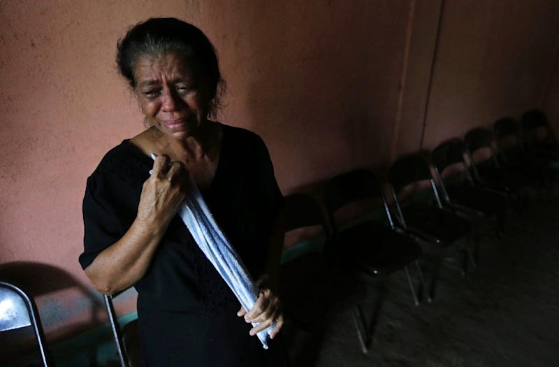 The mother a victim shot dead during recent protests against the government of President Daniel Ortega, shown here at her son's wake in the city of Sebaco (AFP Photo/Inti Ocon)
