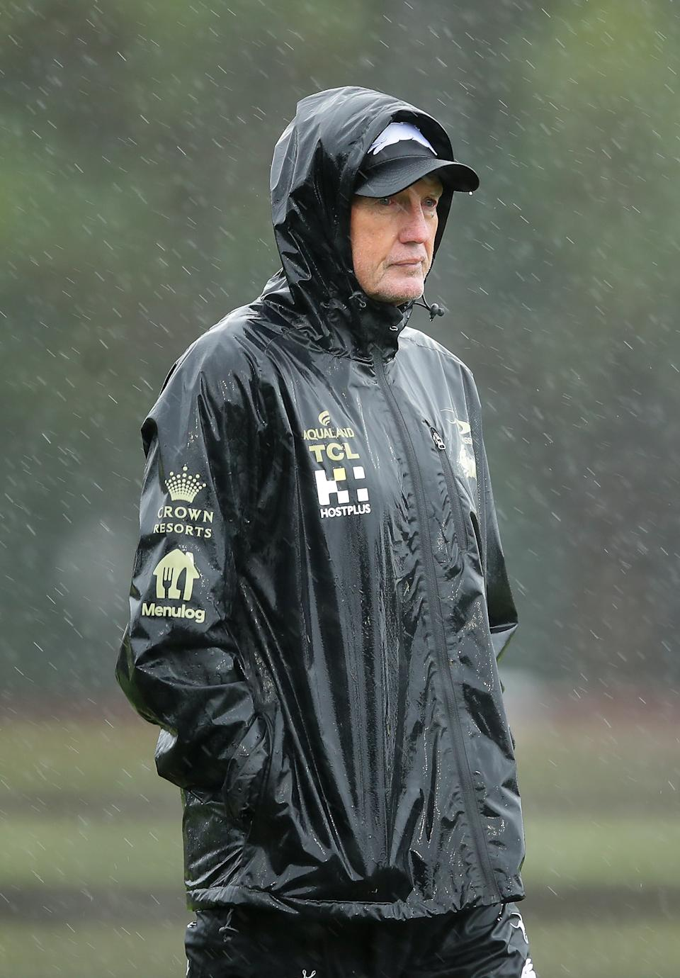Rabbitohs coach Wayne Bennett (pictured) looks on during a South Sydney Rabbitohs NRL training session.