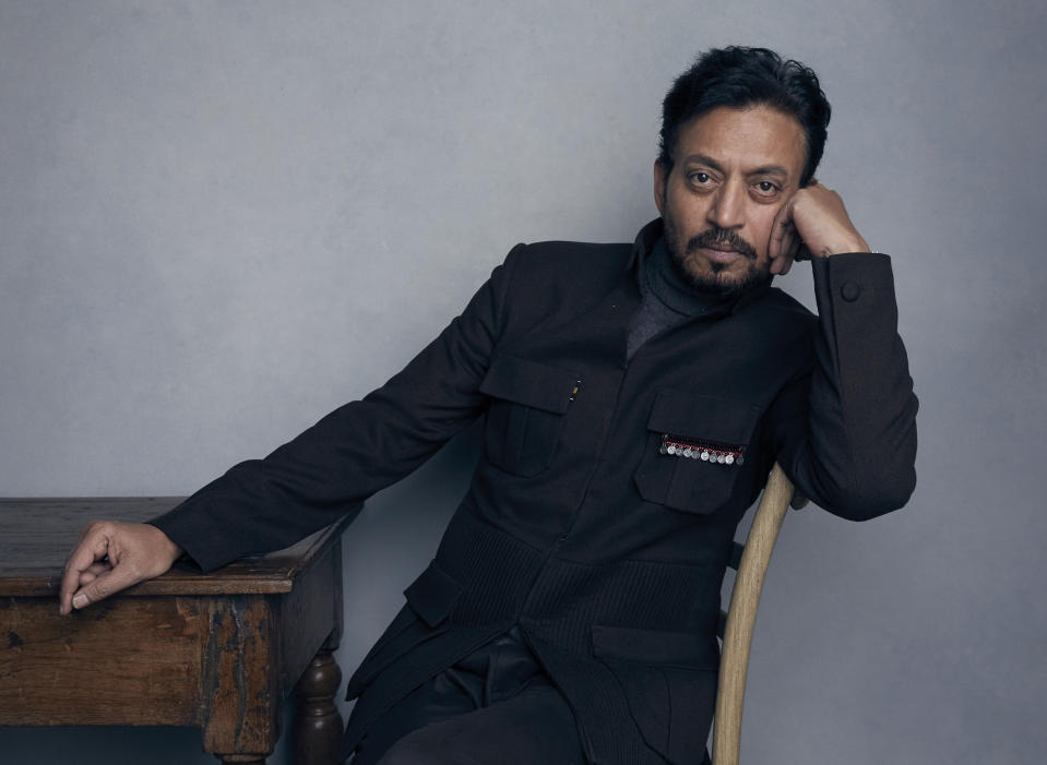 """FILE - In this Jan. 22, 2018 file photo, actor Irrfan Khan poses for a portrait to promote the film """"Puzzle"""" during the Sundance Film Festival in Park City, Utah.  Khan has appeared in films such as """"Slumdog Millionaire"""" and """"Jurassic World,"""" but now the actor is facing the biggest challenge of his life as he undergoes treatment for cancer in London. (Photo by Taylor Jewell/Invision/AP, File)"""