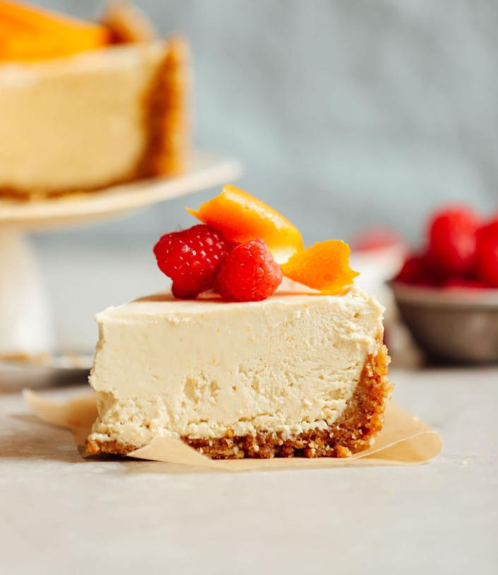 "<a href=""https://minimalistbaker.com/vegan-no-bake-coconut-yogurt-cheesecake/"" rel=""nofollow noopener"" target=""_blank"" data-ylk=""slk:Get the Vegan No-Bake Coconut Yogurt Cheesecake recipe from Minimalist Baker"" class=""link rapid-noclick-resp""><strong>Get the Vegan No-Bake Coconut Yogurt Cheesecake recipe from Minimalist Baker</strong></a>"