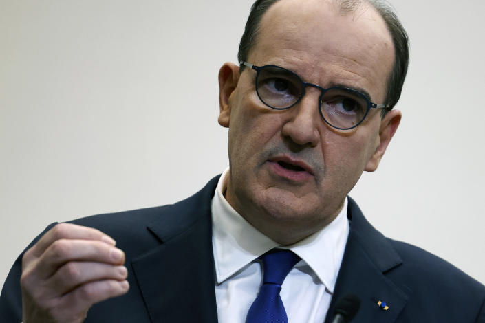 French Prime Minister Jean Castex announced the new restrictions on Thursday. (AP)