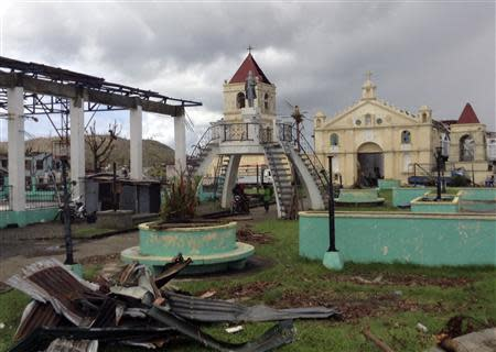 A view of the Roman Catholic church and belfry in the coastal Philippine town of Balangiga devastated by super typhoon Haiyan, November 20, 2013. Picture taken November 20, 2013. REUTERS/Nathan Layne