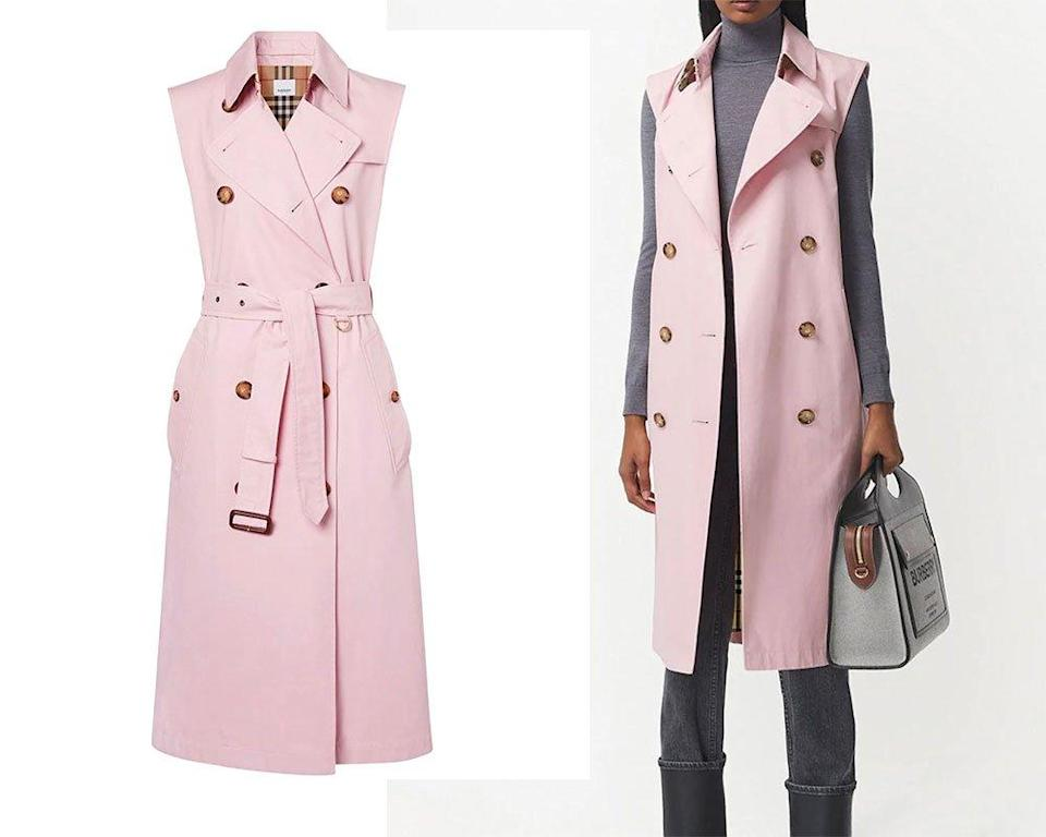 Burberry pink sleeveless trench coat ($14900)