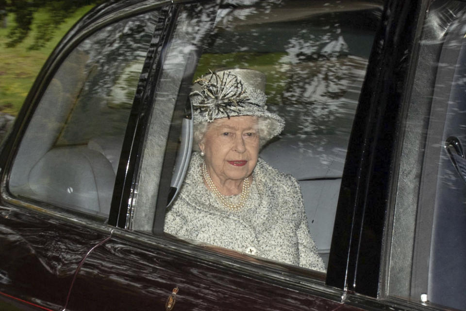Photo by: zz/KGC-492/STAR MAX/IPx 2019 10/6/19 Her Majesty Queen Elizabeth II and Lady Sarah Chatto attend Sunday Church Service at Crathie Kirk accompanied by The Royal Regiment Of Scotland. (Balmoral, Ballater, Scotland)