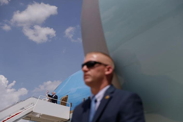 <p>President Donald Trump waves as he boards Air Force One at Andrews Air Force Base, Md., Friday, May 19, 2017, for his first foreign trip as president, visiting Saudi Arabia, Israel, Vatican, and a pair of summits in Brussels and Sicily. (Photo: Evan Vucci/AP) </p>