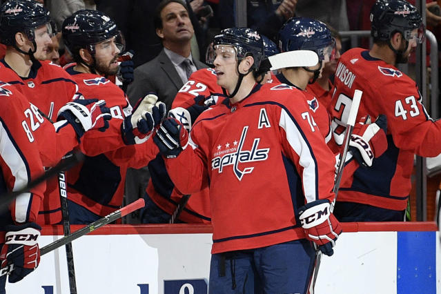 Washington Capitals defenseman John Carlson (74) celebrates his goal during the second period of the team's NHL hockey game against the Toronto Maple Leafs, Wednesday, Oct. 16, 2019, in Washington. (AP Photo/Nick Wass)