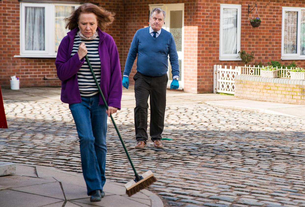 FROM ITV  STRICT EMBARGO - No Use Before Tuesday 30th March 2021  Coronation Street - Ep 10292  Monday 5th April 2021 - 2nd Ep  Brian Packham [PETER GUNN] and Cathy Matthews [MELANIE HILL] are horrified when someone puts a brick through the Kabin window. Cathy finally cracks and tells Tracy McDonald [KATE FORD] that she was responsible for the nasty comment online, not Brian.  Picture contact David.crook@itv.com   Photographer - Danielle Baguley  This photograph is (C) ITV Plc and can only be reproduced for editorial purposes directly in connection with the programme or event mentioned above, or ITV plc. Once made available by ITV plc Picture Desk, this photograph can be reproduced once only up until the transmission [TX] date and no reproduction fee will be charged. Any subsequent usage may incur a fee. This photograph must not be manipulated [excluding basic cropping] in a manner which alters the visual appearance of the person photographed deemed detrimental or inappropriate by ITV plc Picture Desk. This photograph must not be syndicated to any other company, publication or website, or permanently archived, without the express written permission of ITV Picture Desk. Full Terms and conditions are available on  www.itv.com/presscentre/itvpictures/terms