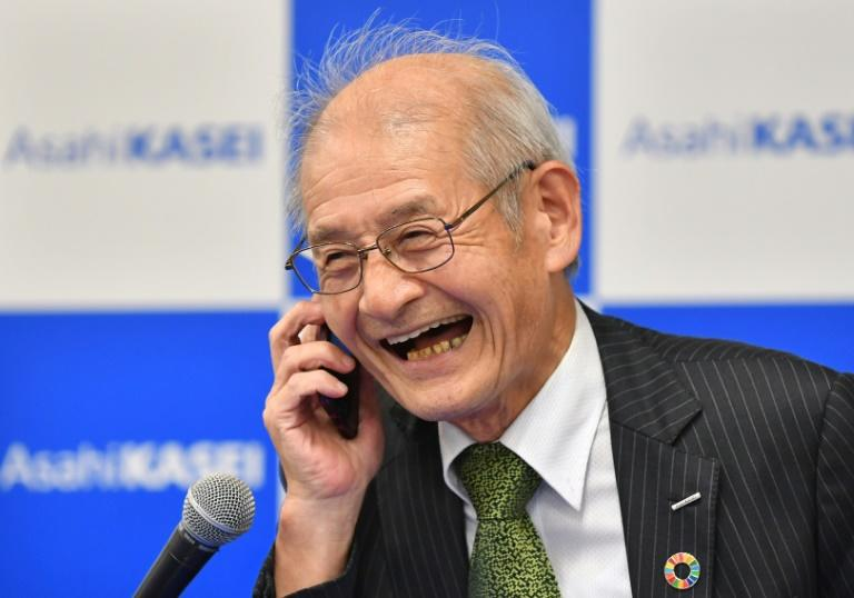 Japanese chemist Akira Yoshino receives a congratulatory call from Japan's Prime Minister Shinozo Abe