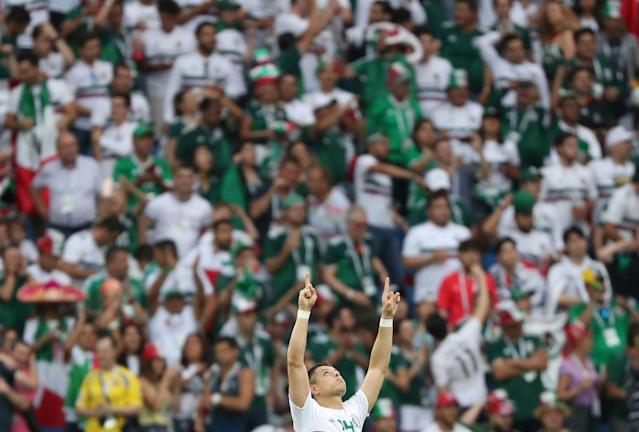 Soccer Football - World Cup - Group F - South Korea vs Mexico - Rostov Arena, Rostov-on-Don, Russia - June 23, 2018 Mexico's Javier Hernandez celebrates scoring their second goal REUTERS/Marko Djurica TPX IMAGES OF THE DAY