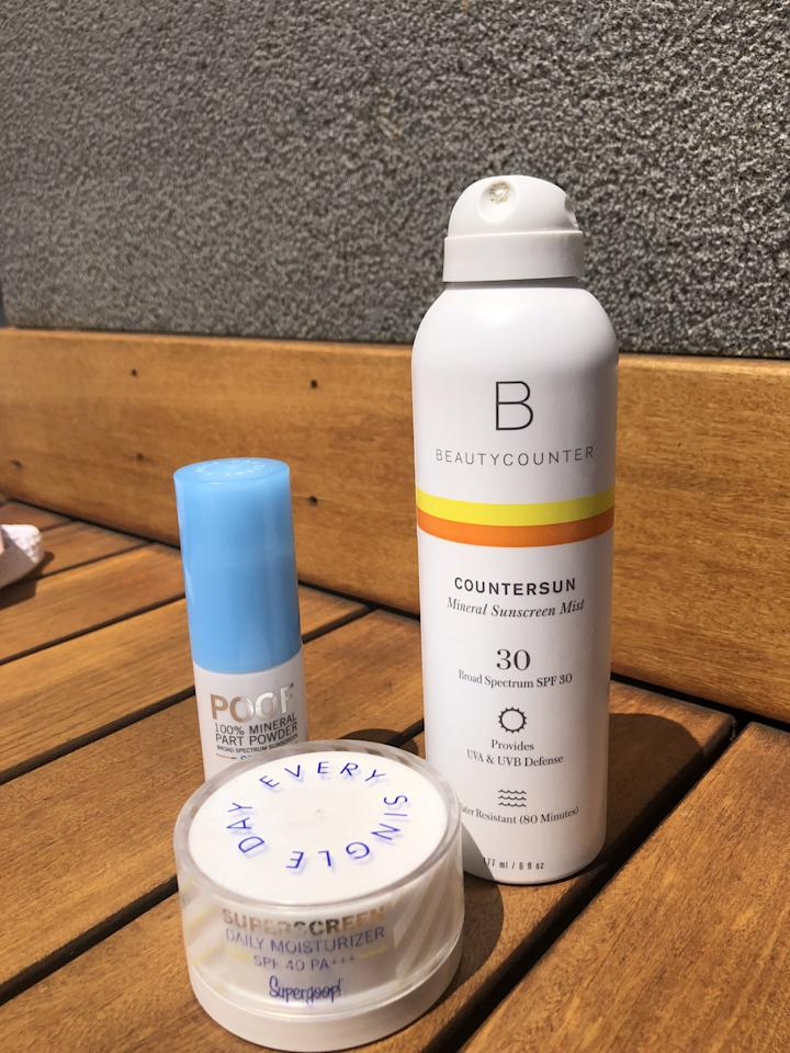 """<p>Because SoJo Spa has outdoor areas - some with little shade - I always make sure my skin is protected. During my most recent visit, I slathered myself in <a href=""""https://www.popsugar.com/buy/Beautycounter%20Countersun%20Mineral%20Sunscreen%20Mist%20SPF%2030-474193?p_name=Beautycounter%20Countersun%20Mineral%20Sunscreen%20Mist%20SPF%2030&retailer=beautycounter.com&pid=474193&price=36&evar1=bella%3Aus&evar9=46440202&evar98=https%3A%2F%2Fwww.popsugar.com%2Fbeauty%2Fphoto-gallery%2F46440202%2Fimage%2F46440305%2FFirst-Skincare-Step-Sunscreen&list1=self-care%2Cbody%20care%2Cskin%20care&prop13=api&pdata=1"""" rel=""""nofollow"""" data-shoppable-link=""""1"""" target=""""_blank"""" class=""""ga-track"""" data-ga-category=""""Related"""" data-ga-label=""""https://www.beautycounter.com/product/countersun-mineral-sunscreen-mist-spf-30"""" data-ga-action=""""In-Line Links"""">Beautycounter Countersun Mineral Sunscreen Mist SPF 30</a> ($36), which goes on an opaque white so that I know that I've reached every inch of my body that I want covered, the <a href=""""https://www.popsugar.com/buy/Supergoop%20Superscreen%20Daily%20Moisturizer%20Broad%20Spectrum%20SPF%2040%20PA%2B%2B%2B-423292?p_name=Supergoop%20Superscreen%20Daily%20Moisturizer%20Broad%20Spectrum%20SPF%2040%20PA%2B%2B%2B&retailer=sephora.com&pid=423292&price=38&evar1=bella%3Aus&evar9=46440202&evar98=https%3A%2F%2Fwww.popsugar.com%2Fbeauty%2Fphoto-gallery%2F46440202%2Fimage%2F46440305%2FFirst-Skincare-Step-Sunscreen&list1=self-care%2Cbody%20care%2Cskin%20care&prop13=api&pdata=1"""" rel=""""nofollow"""" data-shoppable-link=""""1"""" target=""""_blank"""" class=""""ga-track"""" data-ga-category=""""Related"""" data-ga-label=""""https://www.sephora.com/product/superscreen-daily-moisturizer-broad-spectrum-spf-40-pa-P439928"""" data-ga-action=""""In-Line Links"""">Supergoop Superscreen Daily Moisturizer Broad Spectrum SPF 40 PA+++</a> ($38), which massages into my face and neck feeling like your lightweight, comfortable-wearing day cream, and the <a href=""""https://www.popsugar.com/buy/Supergoop%20Poof%20100%25%20M"""