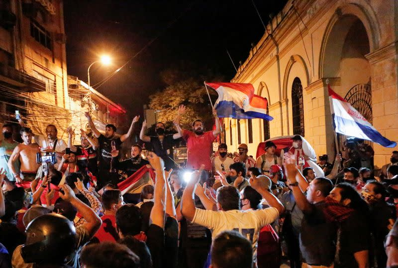 Paraguayans protest against President Mario Abdo Benitez's health policies in Asuncion