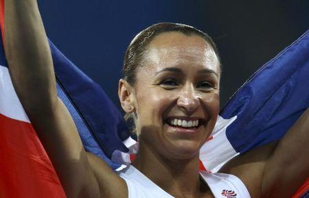 2016 Rio Olympics - Athletics - Final - Women's Heptathlon 800m - Olympic Stadium - Rio de Janeiro, Brazil - 13/08/2016. Silver medal winner Jessica Ennis-Hill (GBR) of Britain celebrates after the event. REUTERS/Ivan Alvarado