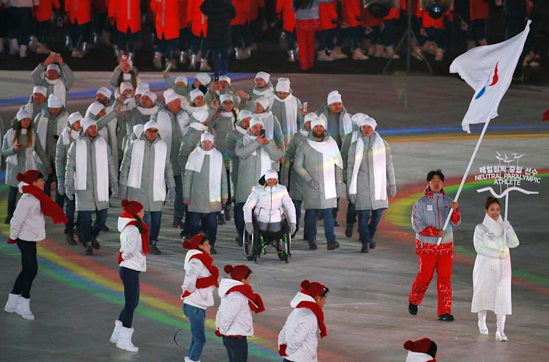 PYEONGCHANG, SOUTH KOREA MARCH 9, 2018: Neutral Paralympic Athletes (NPA) during the parade of athletes at the Opening Ceremony of the 2018 Winter Paralympic Games at PyeongChang Olympic Stadium. Vladimir Smirnov/TASS (Photo by Vladimir Smirnov\TASS via Getty Images)
