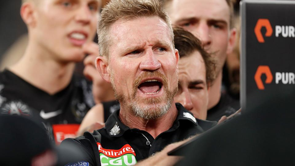 Collingwood coach Nathan Buckley believes the Magpies can overcome their poor start to the season and make the top eight. (Photo by Michael Willson/AFL Photos via Getty Images)
