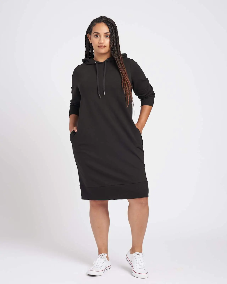 """<h2>Universal Standard Carefree Hoodie Sweatshirt Dress <br></h2><br><strong>Best Plus-Size Hooded Sweatshirt Dress </strong><br><em>Size Range: 00-32</em><br><br>This luxe French Terry dress is perfect for errands or just staying in and relaxing. It is made with 95% cotton and 5% elastane for the right amount of stretch. <br><br><br><em>Shop <strong><a href=""""https://go.skimresources.com/?id=30283X879131&isjs=1&jv=15.2.0-stackpath&sref=https%3A%2F%2Fwww.refinery29.com%2Fen-us%2Fplus-size-sweater-dresses%23slide-1&url=https%3A%2F%2Fwww.universalstandard.com%2Fproducts%2Fcarefree-hoodie-sweatshirt-dress-black&xguid=01ERGDHBXNJ489J9KBAH8RZJH0&xs=1&xtz=240&xuuid=13a7fbd9948972339c551d8b8235af4b&xjsf=other_click__contextmenu%20%5B2%5D"""" rel=""""nofollow noopener"""" target=""""_blank"""" data-ylk=""""slk:Unviersal Standard"""" class=""""link rapid-noclick-resp"""">Unviersal Standard </a></strong></em><br><br><strong>Universal Standard</strong> Carefree Hoodie Sweatshirt Dress, $, available at <a href=""""https://go.skimresources.com/?id=30283X879131&url=https%3A%2F%2Fwww.universalstandard.com%2Fproducts%2Fcarefree-hoodie-sweatshirt-dress-black"""" rel=""""nofollow noopener"""" target=""""_blank"""" data-ylk=""""slk:Unviersal Standard"""" class=""""link rapid-noclick-resp"""">Unviersal Standard</a>"""