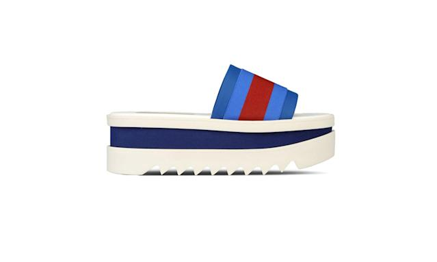 "<p>Blue slides shoes, $590, <a href=""https://www.stellamccartney.com/us/stella-mccartney/sandals_cod44931630kq.html#dept=main_sandals"" rel=""nofollow noopener"" target=""_blank"" data-ylk=""slk:stellamccartney.com"" class=""link rapid-noclick-resp"">stellamccartney.com</a> </p>"