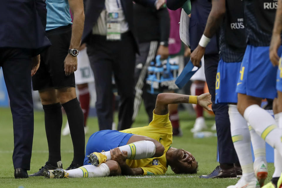 Neymar has spent 14 minutes on the ground during the World Cup, and now a commercial is making fun of him for it. (AP Photo/Andre Penner)