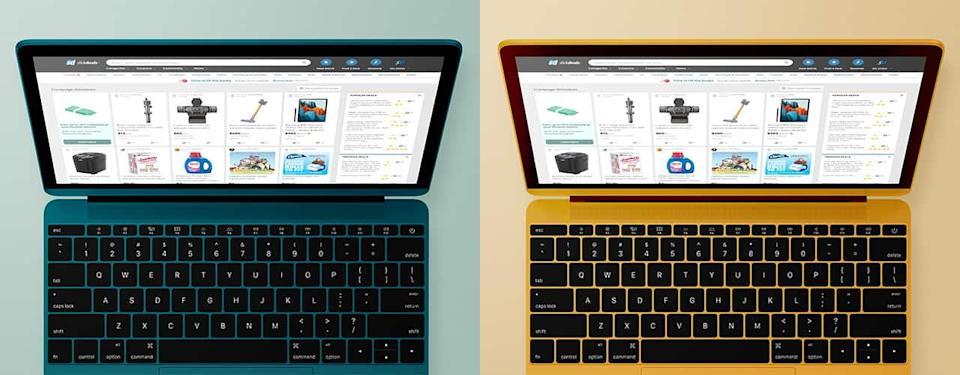 yellow and green colors of the new macbook pro 2021 2022 mockup concept
