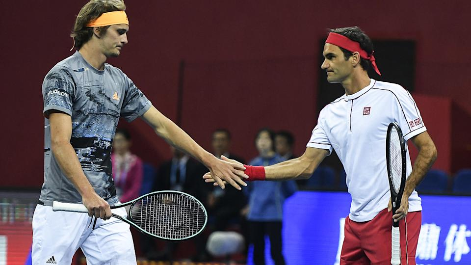 Alexander Zverev and Roger Federer, pictured here in action on the tennis court.