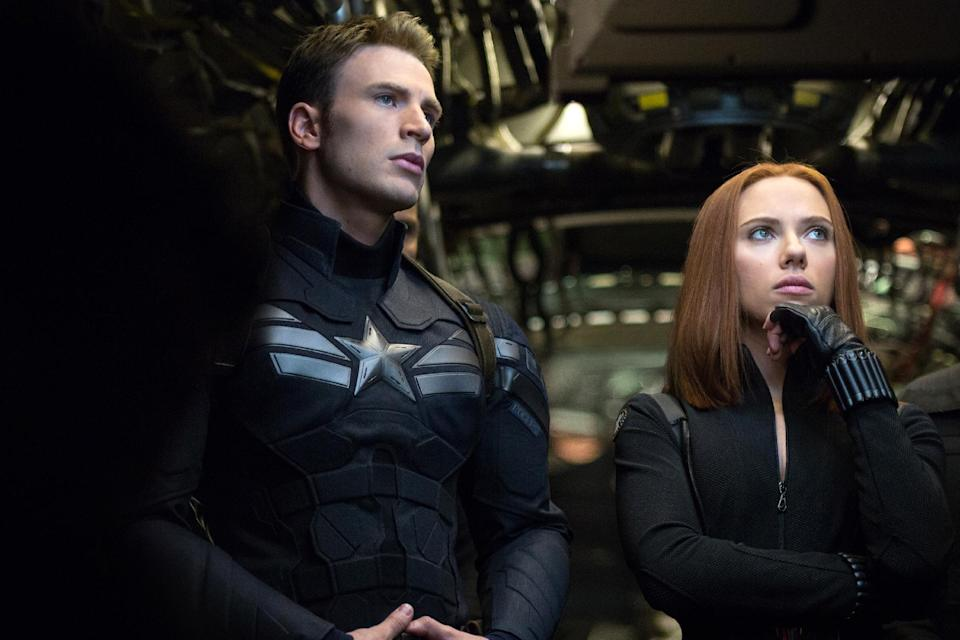 """This image released by Marvel shows Chris Evans, left, and Scarlett Johansson in a scene from """"Captain America: The Winter Soldier."""" (AP Photo/Marvel-Disney)"""