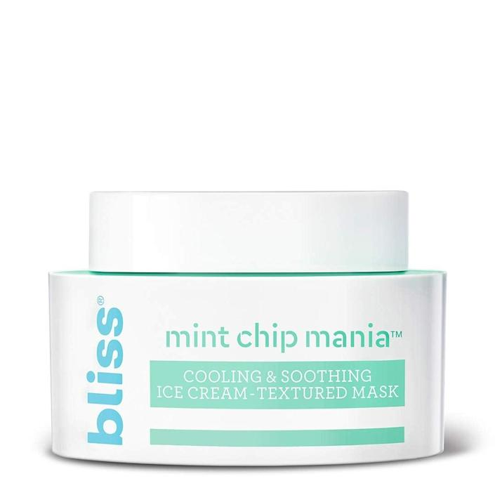 """<h3>Bliss Mint Chip Mania Soothing Facial Mask</h3><br><strong>Helen</strong><br><br>""""My skin has been so angry from the hot, humid climate I moved to recently, and this product feels amazing. My complexion is noticeably calmer after I've used it, and it's also cute how creative it is. (The 'chips' are shea butter and you rub them in before rinsing off the mask!)""""<br><br><strong>Bliss</strong> Mint Chip Mania Soothing Facial Mask, $, available at <a href=""""https://amzn.to/2CD2nWX"""" rel=""""nofollow noopener"""" target=""""_blank"""" data-ylk=""""slk:Amazon"""" class=""""link rapid-noclick-resp"""">Amazon</a>"""