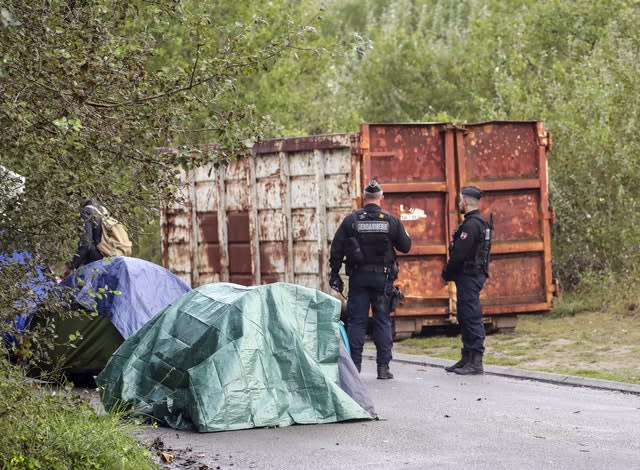 French police clear a migrant camp