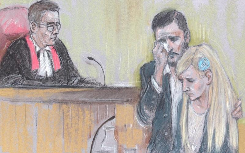 Court artist drawing by Elizabeth Cook of Charlie Gard's parents Chris Gard and Connie Yates reading a statement in the witness box at the High Court  - Credit: Elizabeth Cook/PA
