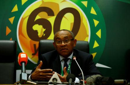 The newly elected Confederation of African Football President Ahmad Ahmad addresses a news conference after his victory at the African Union headquarters in Ethiopia's capital Addis Ababa