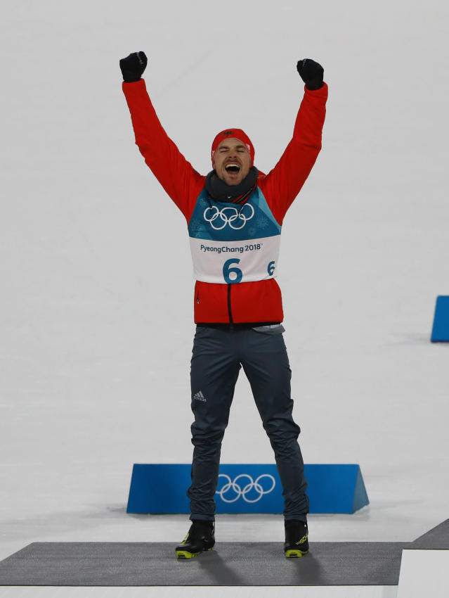 Nordic Combined Events - Pyeongchang 2018 Winter Olympics - Men's Individual 10 km Final - Alpensia Cross-Country Skiing Centre - Pyeongchang, South Korea - February 20, 2018 - Silver medalist, Fabian Riessle of Germany celebrates during the victory ceremony. REUTERS/Dominic Ebenbichler