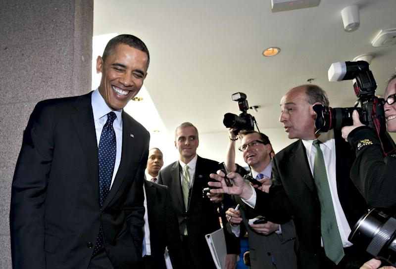 President Barack Obama turns to reporters as he leaves Capitol Hill in Washington, Wednesday, March 13, 2103, after his closed-door meeting with House Speaker John Boehner and Republican lawmakers to discuss the budget.  (AP Photo/J. Scott Applewhite)