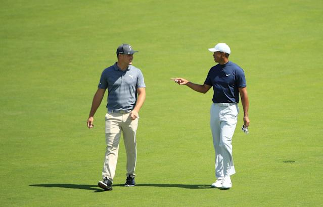 "<h1 class=""title"">U.S. Open - Preview Day 1</h1> <div class=""caption""> PEBBLE BEACH, CALIFORNIA - JUNE 10: (L-R) Bryson DeChambeau of the United States and Tiger Woods of the United States talk as they walk the sixth hole during a practice round prior to the 2019 U.S. Open at Pebble Beach Golf Links on June 10, 2019 in Pebble Beach, California. (Photo by Andrew Redington/Getty Images) </div> <cite class=""credit"">Andrew Redington</cite>"