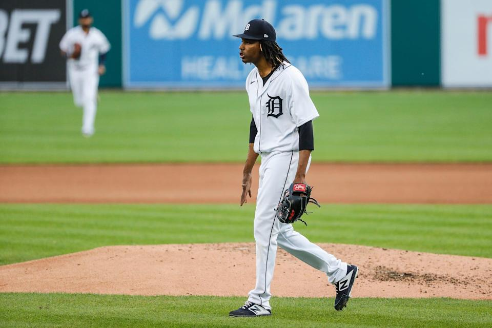 Detroit Tigers pitcher Jose Urena (62) celebrates after pitching against Cleveland during the fifth inning at Comerica Park in Detroit on Wednesday, May 26, 2021.