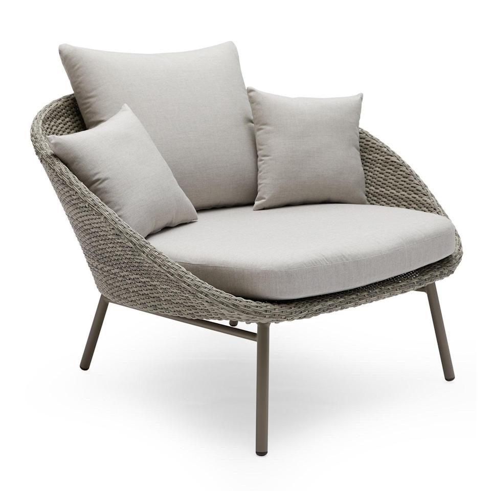 "<p>If you're looking for a comfortable lounger, this <a href=""https://www.popsugar.com/buy/Modrn-Scandinavian-Nassau-Outdoor-Woven-Lounge-Chair-Sunbrella-Cushion-414268?p_name=Modrn%20Scandinavian%20Nassau%20Outdoor%20Woven%20Lounge%20Chair%20With%20Sunbrella%20Cushion&retailer=walmart.com&pid=414268&price=430&evar1=casa%3Aus&evar9=46194910&evar98=https%3A%2F%2Fwww.popsugar.com%2Fhome%2Fphoto-gallery%2F46194910%2Fimage%2F46194926%2FModrn-Scandinavian-Nassau-Outdoor-Woven-Lounge-Chair-Sunbrella-Cushion&list1=shopping%2Cfurniture%2Csmall%20space%20living%2Coutdoor%20decorating%2Cpatios&prop13=api&pdata=1"" class=""link rapid-noclick-resp"" rel=""nofollow noopener"" target=""_blank"" data-ylk=""slk:Modrn Scandinavian Nassau Outdoor Woven Lounge Chair With Sunbrella Cushion"">Modrn Scandinavian Nassau Outdoor Woven Lounge Chair With Sunbrella Cushion</a> ($430, originally $600) is perfect.</p>"