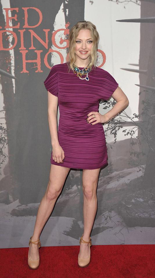 "<a href=""http://movies.yahoo.com/movie/contributor/1808545150"">Amanda Seyfried</a> at the Los Angeles premiere of <a href=""http://movies.yahoo.com/movie/1810157569/info"">Red Riding Hood</a> on March 7, 2011."