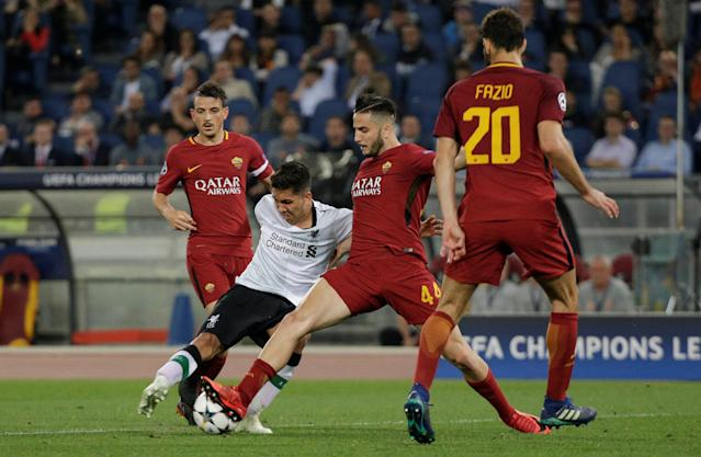 Soccer Football - Champions League Semi Final Second Leg - AS Roma v Liverpool - Stadio Olimpico, Rome, Italy - May 2, 2018 Liverpool's Roberto Firmino in action with Roma's Konstantinos Manolas REUTERS/Max Rossi
