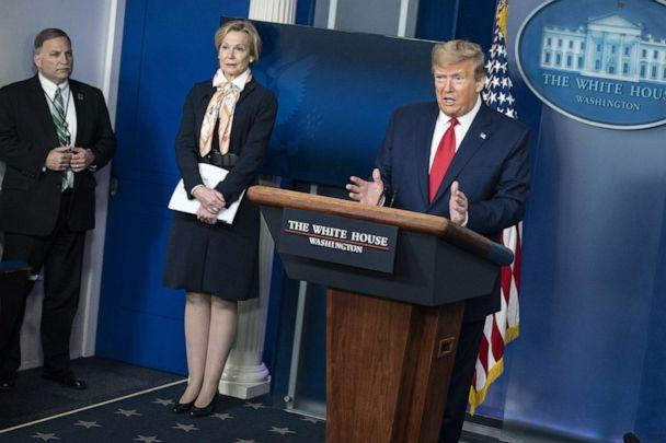 PHOTO: President Donald Trump delivers remarks during a press briefing with White House coronavirus response coordinator Dr. Deborah Birx, on April 18, 2020, in Washington, D.C. (Sarah Silbiger/Getty Images)