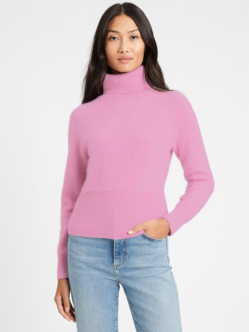 <p>Treat yourself to this plush <span>Brushed Cashmere Turtleneck Sweater</span> ($224, originally $249).</p>