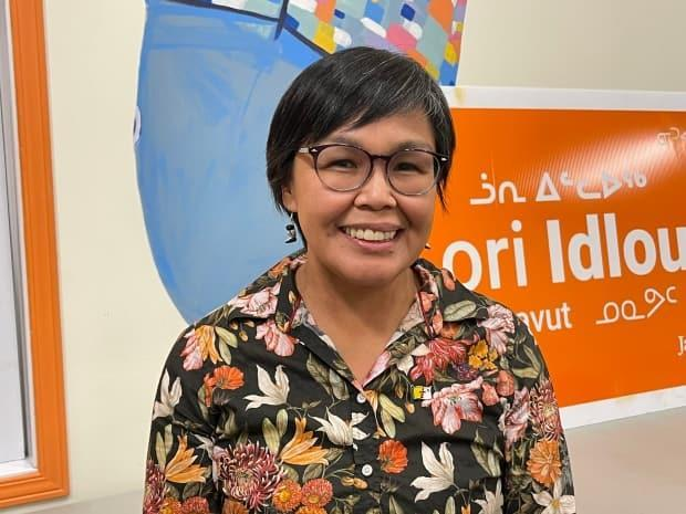 First-time federal politician Lori Idlout will be Nunavut's next MP. She celebrated with supporters at the Qajuqturvik Food Center in Iqaluit.  (Don Sommers/CBC - image credit)