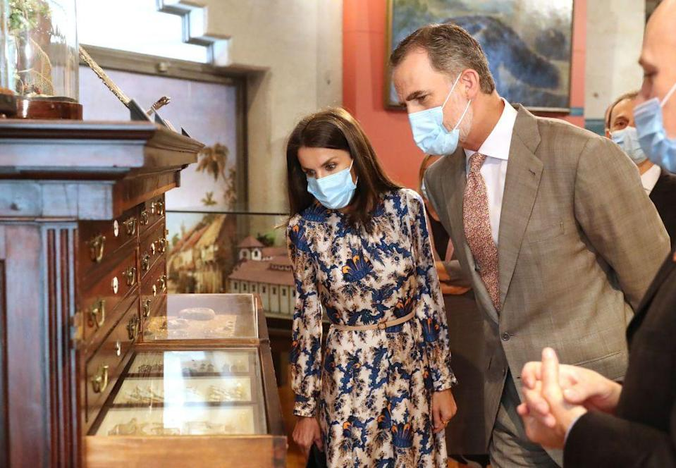 <p>Letizia hasn't started coordinating her dress to her mask. She instead prefers the more medical style of face covering. </p>