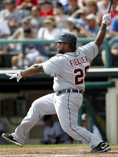 Fielder has two hits, Tigers pitch one-hitter