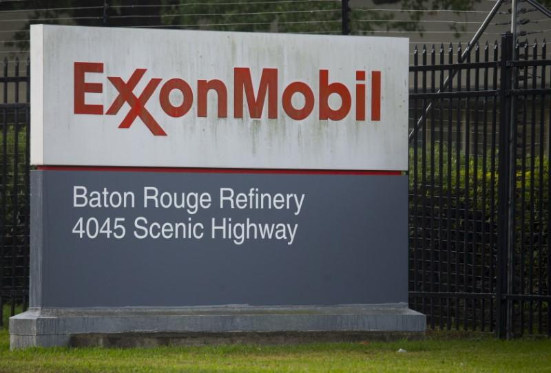 A sign is seen in front of the Exxonmobil Baton Rouge Refinery in Baton Rouge, Louisiana.