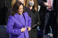 Kamala Harris prepares to be sworn in as vice president by Supreme Court Justice Sonia Sotomayor during the 59th Presidential Inauguration at the U.S. Capitol in Washington, Wednesday, Jan. 20, 2021. (AP Photo/Andrew Harnik)