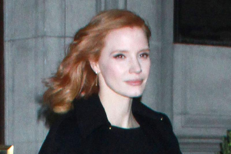 7626cbc1dde3 Jessica Chastain s Little Black Dress Gets a Fun Twist With Green Gucci  Boots and Crystal-Covered Heels