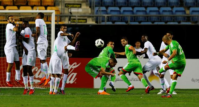 Soccer Football - International Friendly - Saudi Arabia v Algeria - Estadio Ramon de Carranza, Cadiz, Spain - May 9, 2018 Algeria's Mokhtar Benmoussa takes a free-kick REUTERS/Marcelo Del Pozo