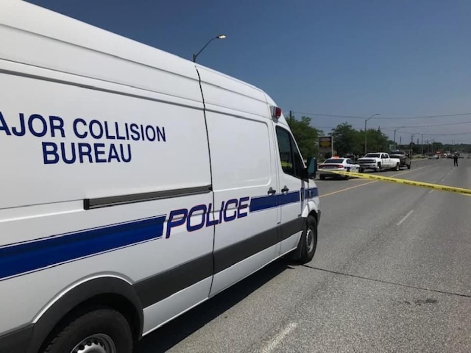 Peel police's Major Collision Bureau is investigating a two-vehicle collision in Brampton on Monday afternoon that sent a motorcyclist to hospital with life-threatening injuries. (Andy Hincenbergs/CBC - image credit)