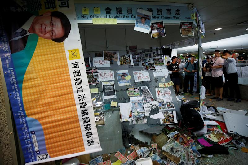 The office of pro-China lawmaker Junius Ho is seen destroyed by anti-extradition supporters in Hong Kong, China July 22, 2019. (Photo: Edgar Su/Reuters)
