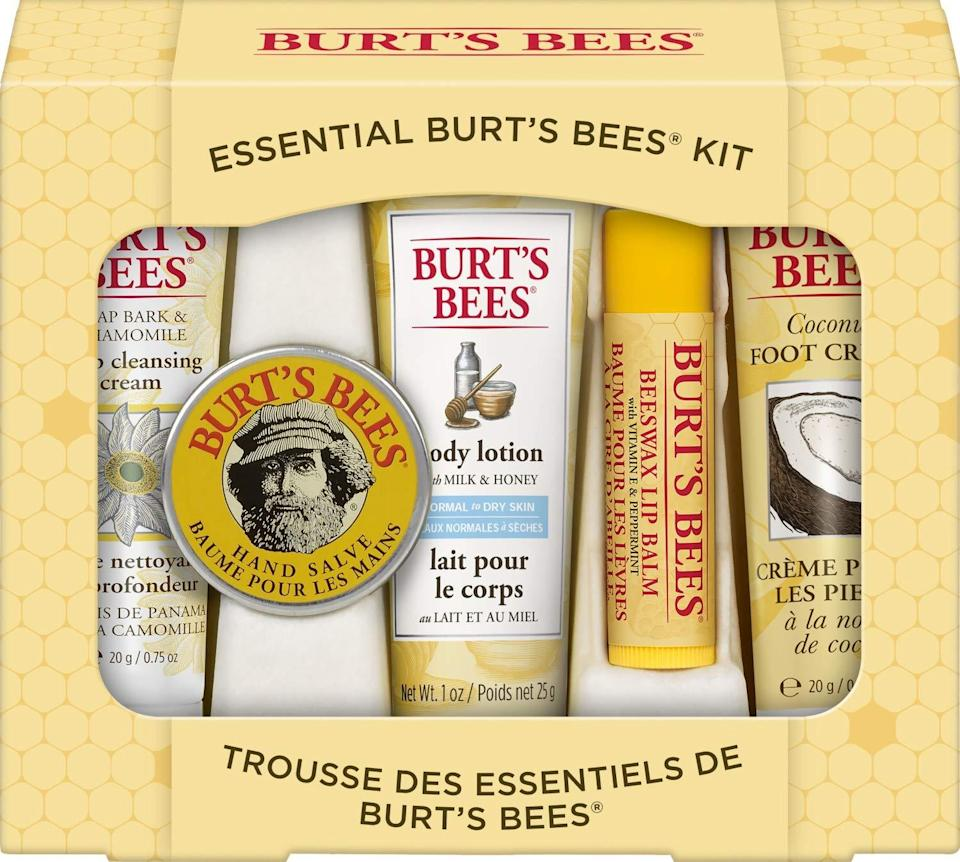 """<h2>Burt's Bees Essential Gift Set</h2><br><strong>Best For: Dads/Brothers<br>Budget: $10</strong><br>This nifty set comes with everything even the most low-maintenance guy needs for all things skincare, all in one place: Deep Cleansing Cream, Hand Salve, Body Lotion, Foot Cream, and Lip Balm.<br><br><em>Shop <a href=""""https://www.amazon.com/stores/Burt%27s+Bees/page/C3E31BE3-D0B5-49E3-99B4-E84F2680ED71?ref_=ast_bln"""" rel=""""nofollow noopener"""" target=""""_blank"""" data-ylk=""""slk:Amazon"""" class=""""link rapid-noclick-resp""""><strong>Amazon</strong></a></em><br><br><strong>Burt's Bees</strong> Essential Gift Set, 5 Travel Size Products, $, available at <a href=""""https://www.amazon.com/Burts-Bees-Essential-Everyday-Products/dp/B004EDWMBO/ref=sr_1_3?dchild=1"""" rel=""""nofollow noopener"""" target=""""_blank"""" data-ylk=""""slk:Amazon"""" class=""""link rapid-noclick-resp"""">Amazon</a>"""