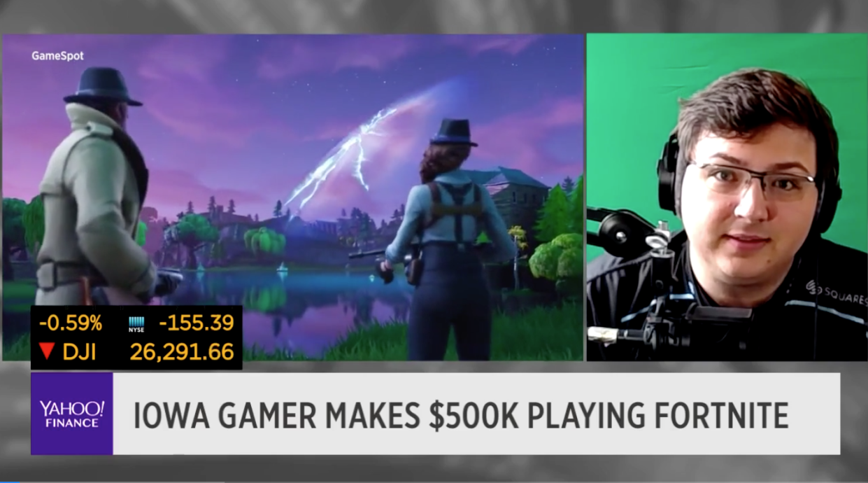 Nick Overton, 17, spends his days getting paid to play the game Fortnite. (Photo: Yahoo Finance/Screenshot)